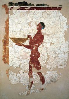 bronze age fresco of a naked boy, carrying a bowl, from the excavation site of Akrotiri on the Greek island Santorini, building Xeste 3, Ground floor - around 1600 BC