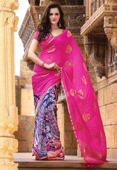 Pink and Blue Pure Georgette Saree with Blouse @ $130.68
