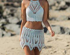 Bileya hand Crochet Shorts Hot Pants in Blue  SHORTS & TOP