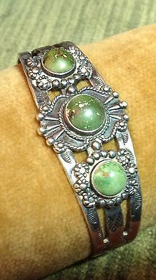 "Posted as ""Navajo Native American Silver Turquoise Vintage Bracelet."" This has the feel of an early tourist bracelet assembled from stamped and/or cast components."