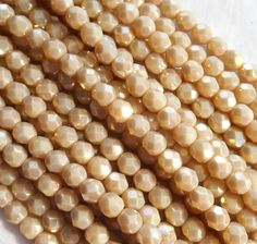 Fifty 4mm Czech glass opaque, Off White, Luster Iris, firepolished, faceted round beads, C9650
