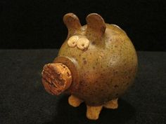 Folk Art Pottery Pig