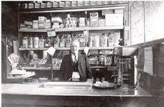 Sam Zair in his shop at Fore Bondgate Bishop Auckland, Durham, Newcastle, England, History, Historia, English, British, United Kingdom