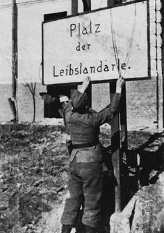 """After enduring the losses necessary to retake the city of Kharkov, the enormous Red Square in city center was renamed """"Platz der Leibstandarte"""" in honour of the Leibstandarte Division, March 1943."""