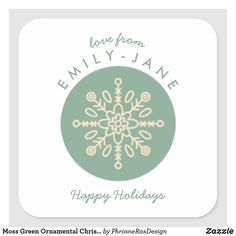 Shop Moss Green Ornamental Christmas Holiday Snowflake Square Sticker created by PhrosneRasDesign. Christmas Gift Tags, Christmas Tree Ornaments, Holiday Gifts, Christmas Holidays, Custom Stickers, Customized Gifts, Snowflakes, Stationery, Green