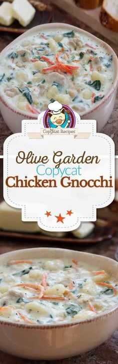 Garden Chicken Gnocchi Soup Copycat Learn how to make your own homemade copycat version of the Olive Garden Chicken Gnocchi Soup.Learn how to make your own homemade copycat version of the Olive Garden Chicken Gnocchi Soup. Olive Garden Chicken Gnocchi, Chicken Gnocchi Soup, Chicken Garden, Chicken Pasta, Crockpot Recipes, Cooking Recipes, Copycat Recipes, Chicken Ideas, Chicken Soup Recipes