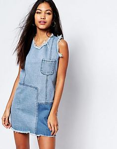 Discover women's denim at ASOS. If you are a denim fan, shop on ASOS for denim jackets, dungarees, shirts & dresses from brands like Levi's, Cheap Monday. Jean Dress Outfits, Denim Outfit, Jeans Dress, Denim And Lace, Denim Top, Denim Shirt, Denim Patchwork, Denim Fabric, Denim Ideas