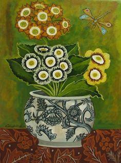 Still Life Auricula, painting by artist Catherine Nolin