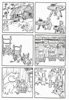 Sequences of 6 images telling classic fairy tales