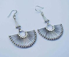 SALE Tribal Silver Earrings Indian Earrings Ethnic by YemayaSoul