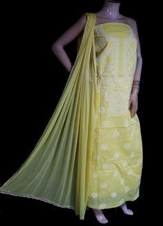 ISHIEQA's Yellow Cotton Chikankari Dress Material - KL0801D Pink Grey, Purple, Types Of Stitches, White C, Ethnic Dress, Prom Dresses, Formal Dresses, Green Cotton, Green Dress