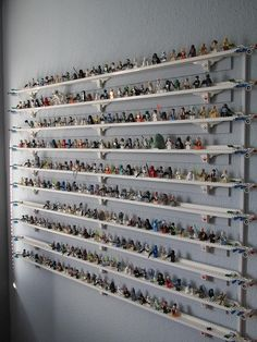 Lego Minifigure Display Wall...my sons would have loved this many shelves for their Legos...they had some, but not this many!