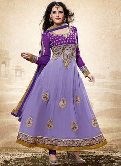 Lustrous Lavender Georgette Anarkali Suit