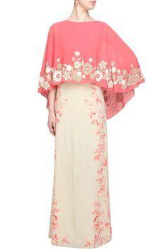 Off white and opium print cape dress Abaya Fashion, Modest Fashion, Indian Fashion, Abaya Mode, Estilo Glamour, Moslem Fashion, Hijab Stile, Modelos Plus Size, Muslim Dress