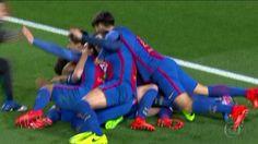 """<p> <span class=""""msg""""><strong>Neymar levanta a bola para a área, Sergi Roberto aparece nas costas da defesa e se atira para tocar antes de Kevin Trapp para fazer 6 a 1 para o Barcelona.<br /> </strong></span></p>"""