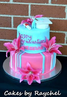 Graduation+Cakes+for+Girls | Lily Flower Graduation Cake