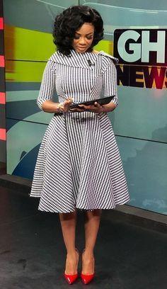 Newscaster Serwaa Amihere in work attire, work fashion, corporate attire, corporate fashion.You can find Corporate attire. Latest African Fashion Dresses, African Dresses For Women, African Print Fashion, African Attire, Women's Fashion Dresses, Ankara Fashion, Africa Fashion, African Prints, African Fabric