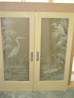 Heron Etched Glass Doors so super similar to our retro palm tree/ship doors & interior doors with glass etching etched glass beach style sea life ...