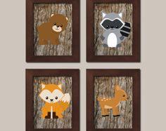 Woodland Nursery Woodland Wall Decor Kids Teal Gray by vtdesigns