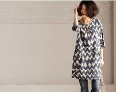 Loose Fitting Round Neck Maxi Dress Blouse Top - Summer Dress  -(R) Short Sleeved Linen Sundress for Women
