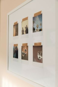 Method of hanging and framing Polaroids. Could also do this with postcards or small momentos  - A Pair of Pears