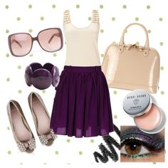 made me a little ensemble on Polyvore. How cute is this skirt!! Love the deep purple with pale pink. Feminine and pretty!