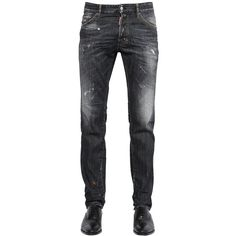 DSQUARED2 16.5cm Washed Cool Guy Stretch Denim ($416) ❤ liked on Polyvore featuring mens, men's clothing, men's jeans, jeans, men, pants and black