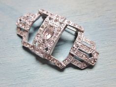 Art Deco Rhinestone Brooch White Cast Pot by IfindUseekVintage, $30.00