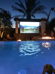 We love hosting movie nights at our home. This television by the pool is a great way to soak in the water and watch your favorite flick.