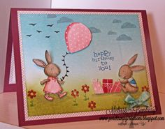Everybunny Birthday-Brayered background with the Everybunny, Up Up and Away, and I Dig You sets-Stamp sets: Everybunny, Up, Up and Away, I Dig You  Cardstock: Whisper White, Rich Razzleberry, Birds of a Feather DSP  Ink: Baja Breeze, Tempting Turquoise, Lucky Limenade, Old Olive, Basic Black, Black Staz-On  Accessories: Pool Party Taffeta ribbon, brayer, markers, dimensionals, snail