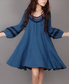 Floral Rim Linen Dress. $61.00, via Etsy.