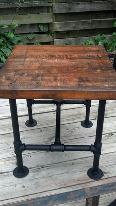 Pipe Leg Table, Round Feet, Lower End Cross Bar, Without Center Bar If  Possible, Reclaimed Butcher Block.