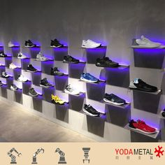Shoe wall shelves floating shelf wall mounted retail store shoes wall display systems with led lighting . Shoe Display, Display Shelves, Wall Shelves, Shelf, Shoe Shelves, Display Ideas, Shelving, Shoe Store Design, Shoe Shop