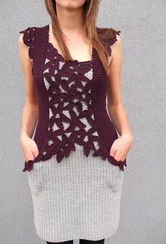 beautifully designed dress I would like to get that point with my crochet/ knitting