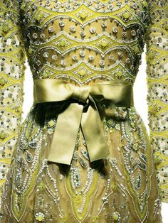 Marc Bohan for Christian Dior, 1972  Evening dress in cigaline, embroidered in absinthe green by Vermont. One of Marc Bohans intricate creations as the head designer of Dior, succeeding Yves Saint Laurent.