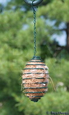 Nesting material holder - help the birds out, especially setting this up in the late winter for early spring homebuilding  - make it out of a coat hanger !