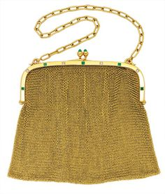 Antique Emerald, Diamond and 18K Gold Purse, circa 1910. Fine mesh purse on a polished frame decorated with emeralds and old European-cut diamonds. French assay and export marks.