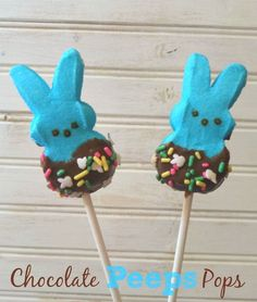 Chocolate Peeps Pops - Outnumbered 3 to 1 Easter Cookies, Easter Treats, Holiday Cookies, Easter Dinner, Easter Party, Just Desserts, Dessert Recipes, Candy Recipes, Yummy Recipes