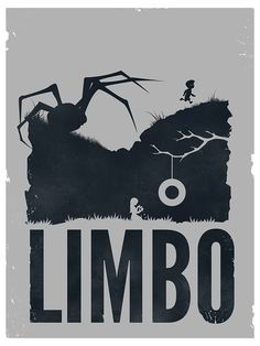 """Poster from the atmospheric, black-n'-white, horror, puzzle-platform, 2D sidescroller """"Limbo"""" where a boy awakens in a dark forest on the """"Edge of Hell"""" and encounters all kinds of dangers while searching for his missing sister, developed & published by Playdead."""