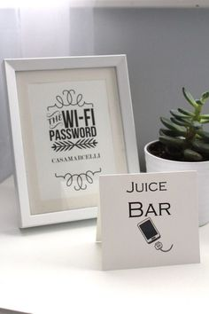 Juice Bar recharge station and Wifi Password for guests. www.amymarcellide...