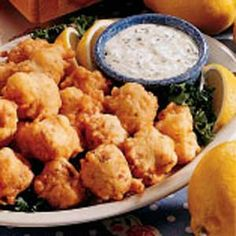 Clam Fritters Recipe- Recipes We had clam fritters every time we went to Rhode Island. I looked for a recipe and finally found this one. Clam Recipes, Seafood Recipes, Cooking Recipes, Cooking Time, Conch Recipes, Yummy Recipes, Oyster Recipes, Shellfish Recipes, Recipies