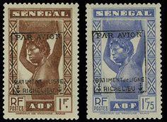 """Military Airpost, Maury 10-11, 1943 Senegal 1fr, 1.75fr Native, """"Par Avion Batiment de Ligne Richelieu"""" Overprint, well centered, NH, 1fr b..."""