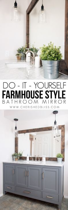 Add Character To Your Bathroom With This DIY Farmhouse Style Mirror Tutorial Its A Great Way Update Those Boring Builder Mirrors In