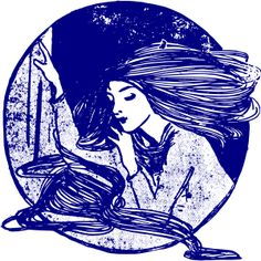 Thoughtful Lady by @j4p4n, This lady is thinking up a storm. Maybe she has been thinking about why her hair is so long, or maybe she is thinking about why she is clipart. I thought this looked like a stamp, and so I made it blue for some reason.
