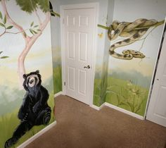 Rain forest Mural... note the 'hand print plant' under the anaconda.  The mom and I invented this and I love it.