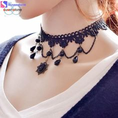 Cheap f pendant, Buy Quality crystal crystal directly from China statement pendant Suppliers: Gothic Vintage Tattoo Tassel Lace Necklace Pendant Chains Crystal Choker Wedding Jewelry Necklaces Women False Collar Statement Choker Necklace Outfit, Lace Necklace, Fashion Necklace, Pendant Necklace, Fashion Jewelry, Women Jewelry, Head Jewelry, Lace Jewelry, Chain Jewelry