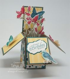 Stampin' Up! Stamping T! - Card in a Box Garden She shows how to make these smaller to fit a C6 envelope (4 1/2 x 6)
