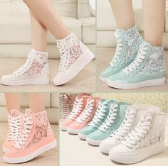 These Stylish Lace Sneakers are Ideal for Summer Lace Sneakers, Sneakers Fashion, Fashion Shoes, Men Sneakers, Converse Sneakers, Converse High, Cute Shoes, Me Too Shoes, Preppy Trends