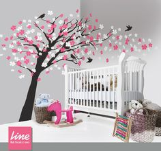 Cherry Blossom Decal - Vinyl wall decals trees wall decals nursery/ baby  girl /children /pink white  flowers birds on Etsy, $119.00