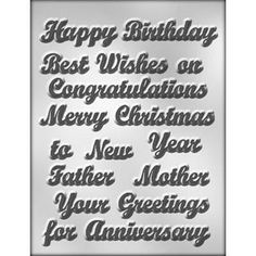 """1"""" Salutation Chocolate Mold from Layer Cake Shop!   Perfect for ANY occasion!  Congratulations or Best Wishes would be perfect for a graduation cake! <3"""